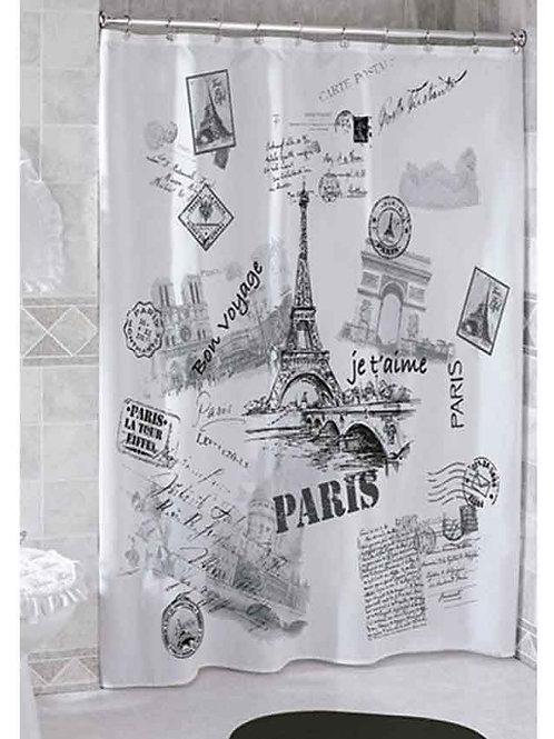 Cortina de baño Poliester Impermeable ¨París Postales¨