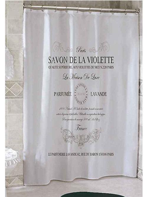 Cortina de baño Poliester Impermeable ¨Savon de la Violette¨