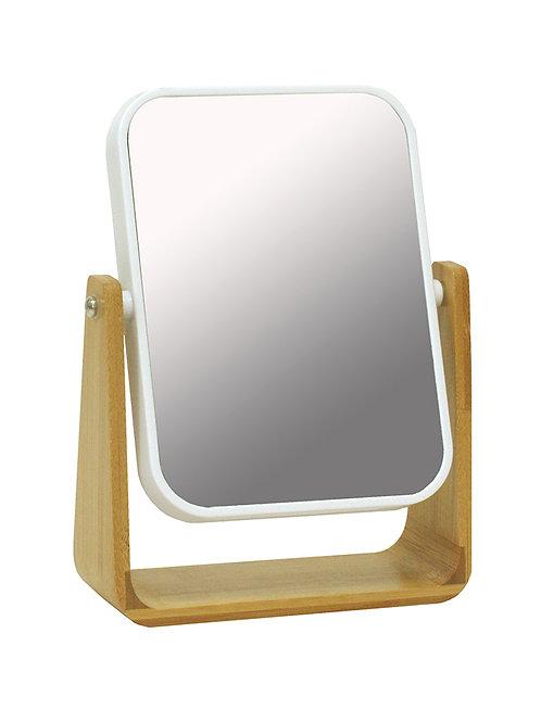 Espejo de mesa giratorio con aumento madera plástico
