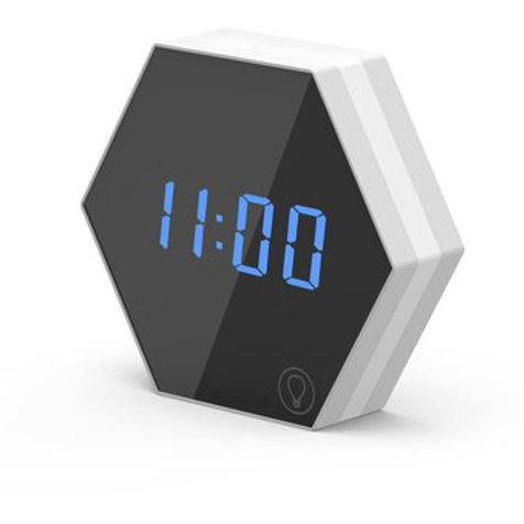 Reloj despertador espejo luminoso hexagonal