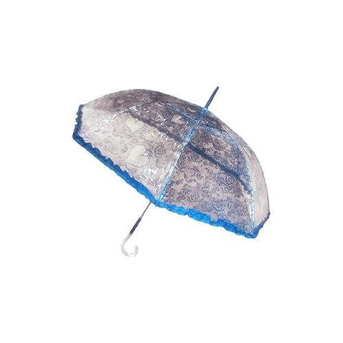 Paraguas largo estampado transparente