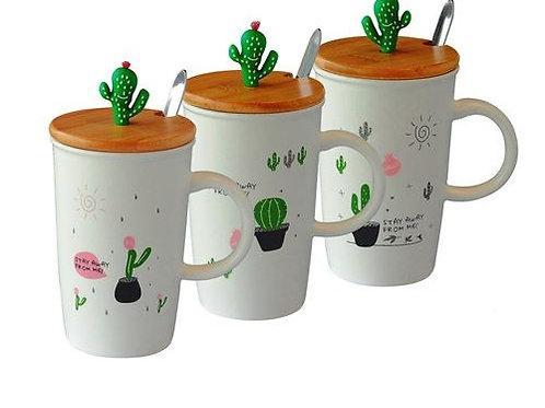 """Taza de cerámica con tapa y cuchara """"Cactus"""""""