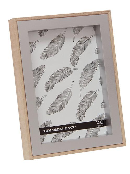 Portarretrato de madera combinado con plateado 15x20 cm