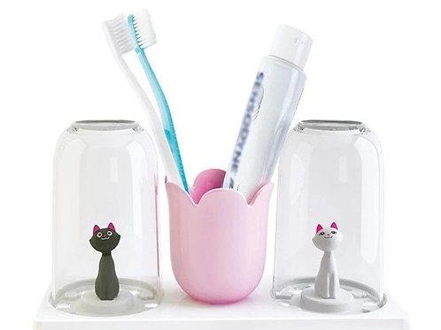 """Porta pasta y cepillos de diente con vasos """"Gatitos"""""""