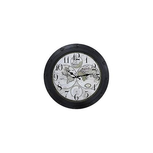 Reloj de pared símil hierro con vidrio