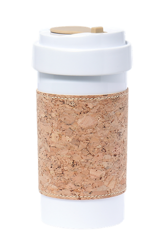 NEW LID* Cafe Plus 400ml with Cork mug sleeve_Natural
