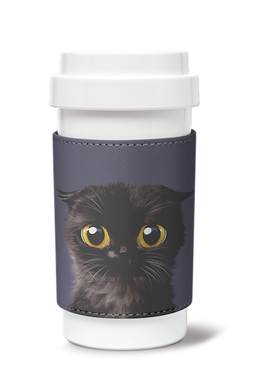Cafe plus 400ml w/ PU sleeve_SugarCat CandyDoggie_Gimo the Highland Fold cat