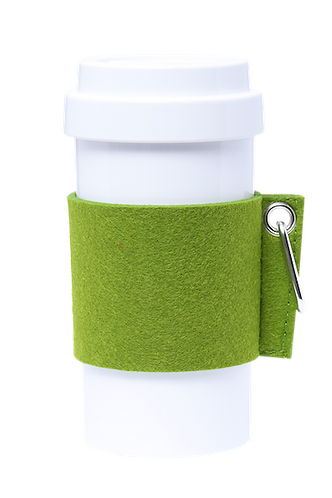 Cafe Plus 400ml - (Green) Felt mug sleeve with carabiner