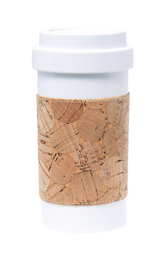 Cafe Plus 400ml - Cork mug sleeve with circle pattern