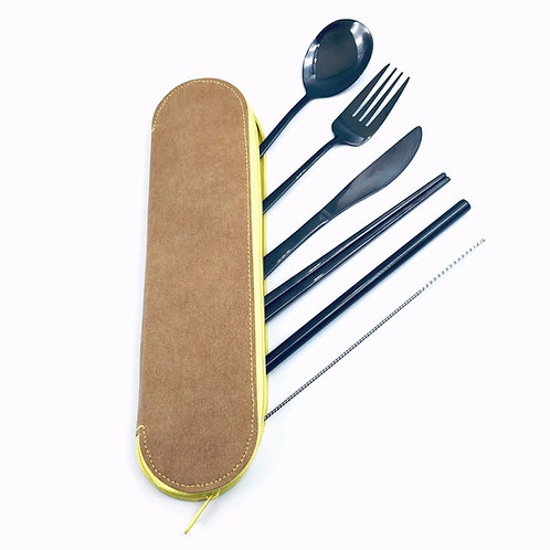 Stainless Steel Cutlery & Straw Set w/ Washable Kraft Paper Bag