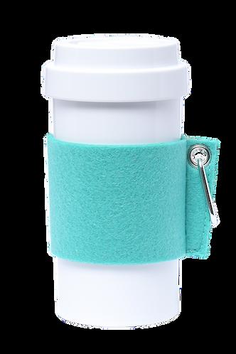 Cafe Plus 400ml - (Turquoise) Felt mug sleeve with carabiner