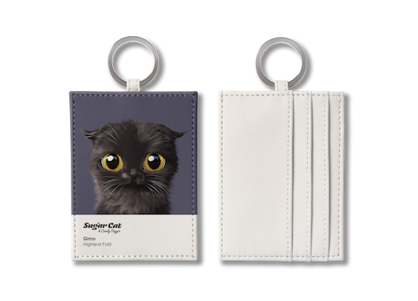 O-ring card holder_SugarCat CandyDoggie_Gimo the Highland Fold cat