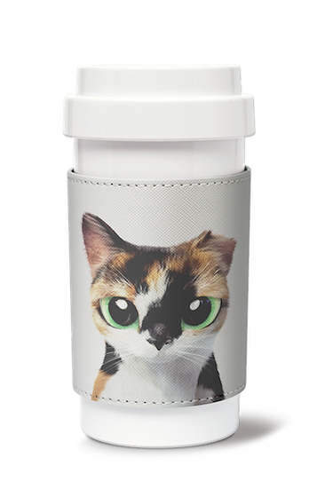 Cafe plus 400ml w/ PU sleeve_SugarCat CandyDoggie_Fury the cat