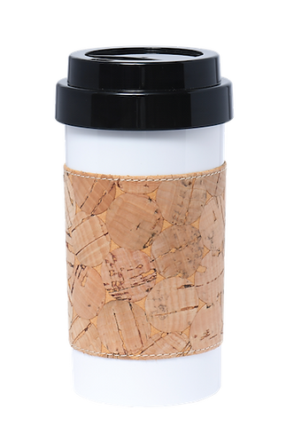 Cafe Plus 400ml - Cork mug sleeve (circle) with black lid