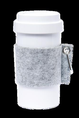 Cafe Plus 400ml - (Gray) Felt mug sleeve with carabiner