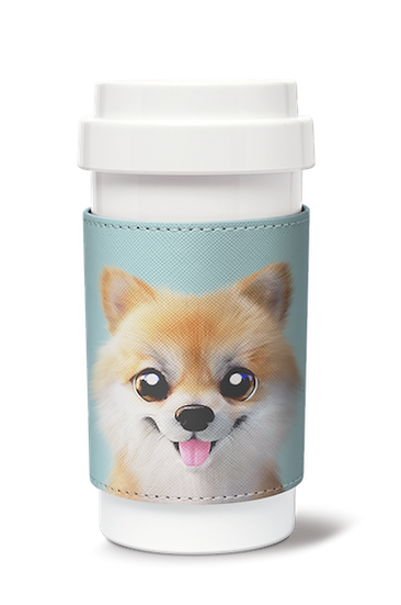 Cafe plus 400ml w/ PU sleeve_SugarCat CandyDoggie_Tan the Pomeranian
