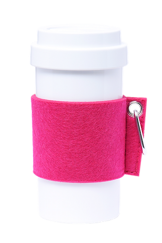 Cafe Plus 400ml - (Pink) Felt mug sleeve with carabiner