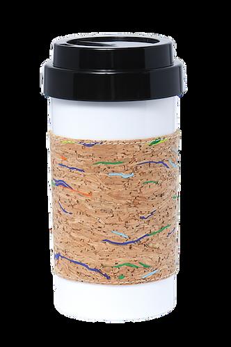 Cafe Plus 400ml - Cork mug sleeve (stripes) with black lid