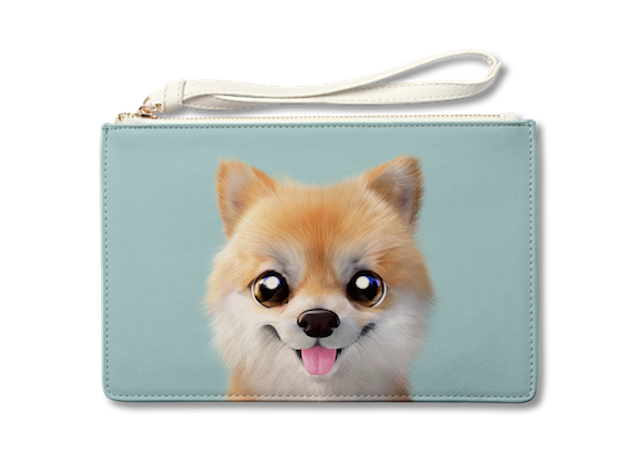 Medium Pouch_SugarCat CandyDoggie_Tan the Pomeranian