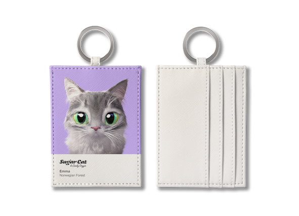 O-ring card holder_SugarCat CandyDoggie_Emma the Norwegian Forest cat