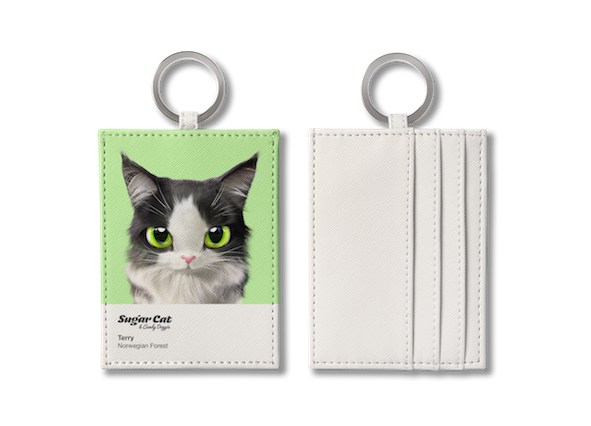O-ring card holder_SugarCat CandyDoggie_Terry the Norwegian Forest cat