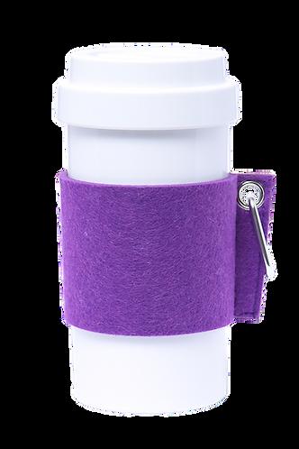 Cafe Plus 400ml - (Purple) Felt mug sleeve with carabiner