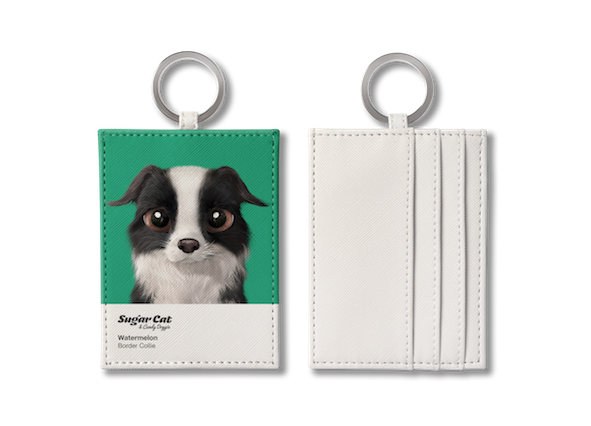 O-ring card holder_SugarCat CandyDoggie_Watermelon the Border Collie