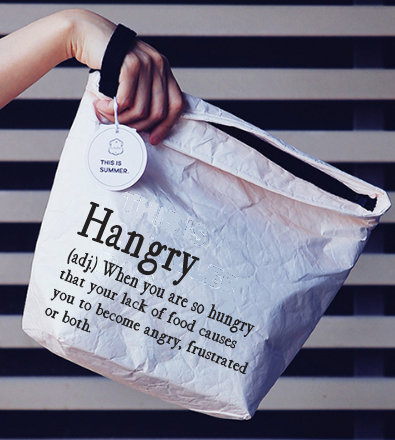 Insulated Lunch Bag with hand strap (Hangry...)