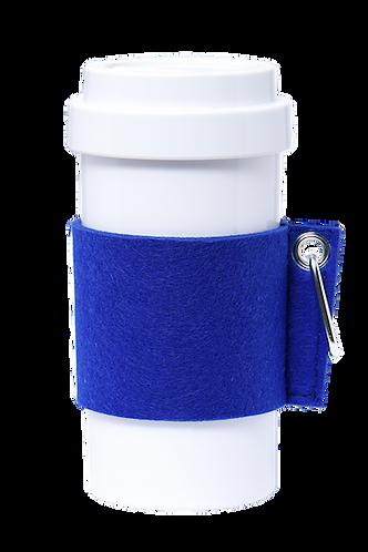 Cafe Plus 400ml - (Blue) Felt mug sleeve with carabiner