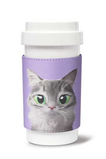 Cafe plus 400ml w/ PU sleeve_SugarCat CandyDoggie_Emma the Norwegian Forest cat