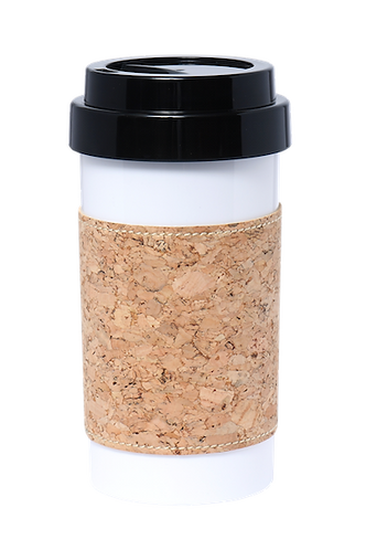 Cafe Plus 400ml - Cork mug sleeve (natural) with black lid
