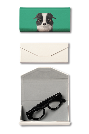 Foldable spectacle case_SugarCat CandyDoggie_Watermelon the Border Collie