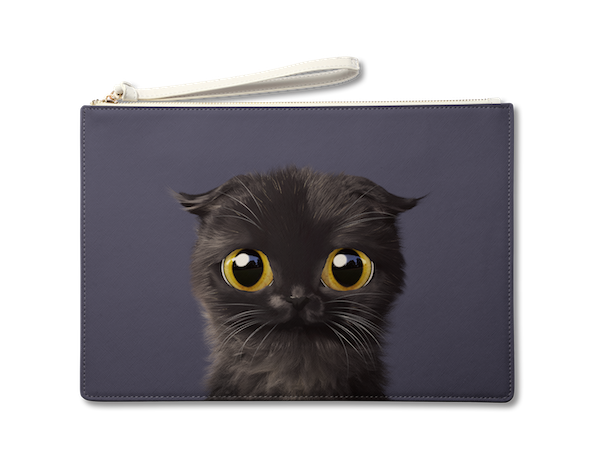 Large Pouch_SugarCat CandyDoggie_Gimo the Highland Fold cat