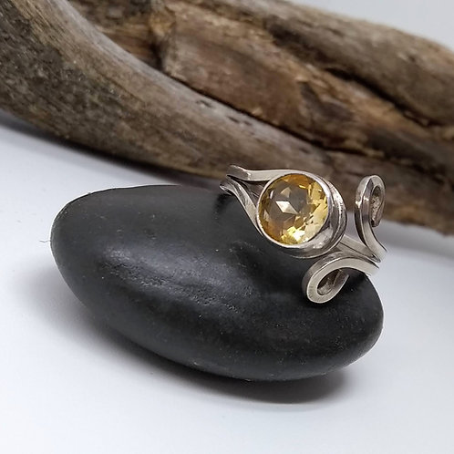 Citrine and Sterling Scroll Ring