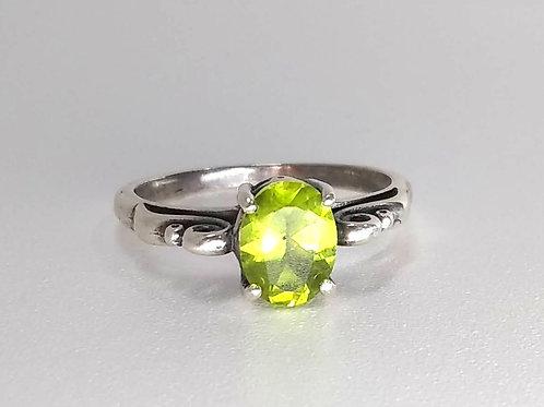 Peridot & Sterling Swirl Ring