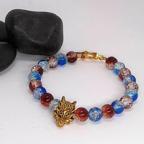 Cobalt & Amber Dragon Bracelet