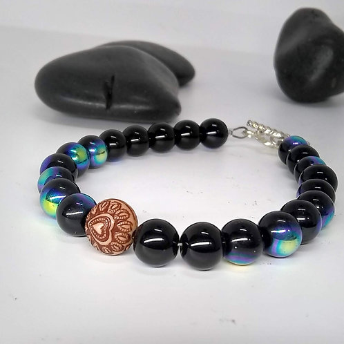 Galaxy bead and Heart Bracelet