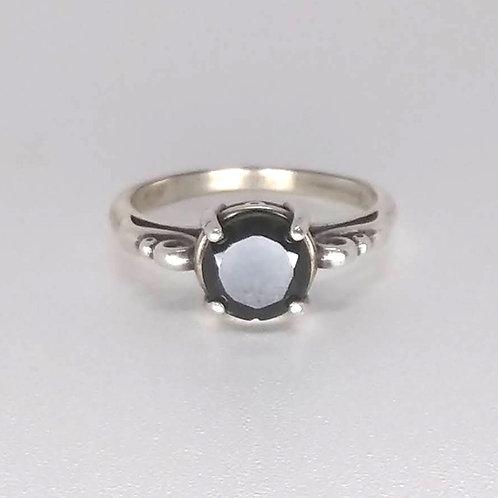 Black Obsidian & Sterling Swirl Ring
