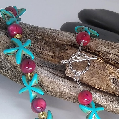 Teal Starfish Necklace