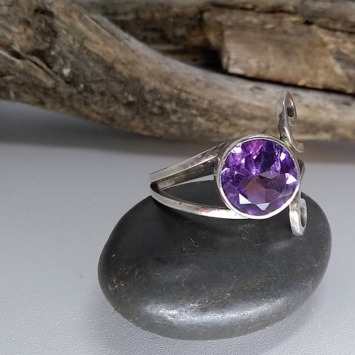 Amethyst and Sterling Scroll Ring
