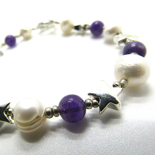 Amethyst Star Pearl Bracelet
