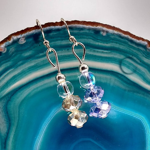 Crystal Bi-color Drop Earrings