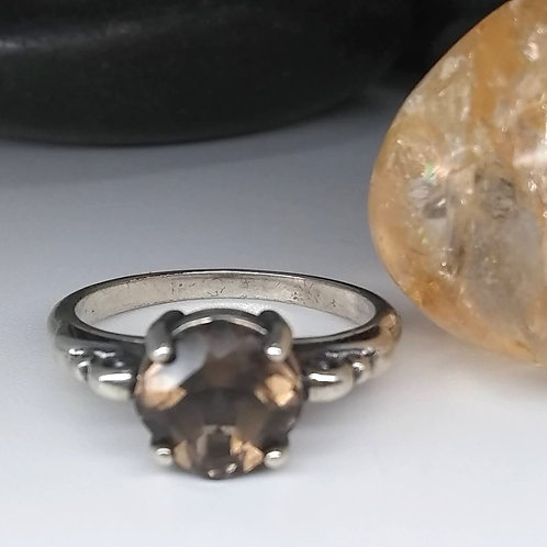 Smoky Quartz & Sterling Swirl Ring
