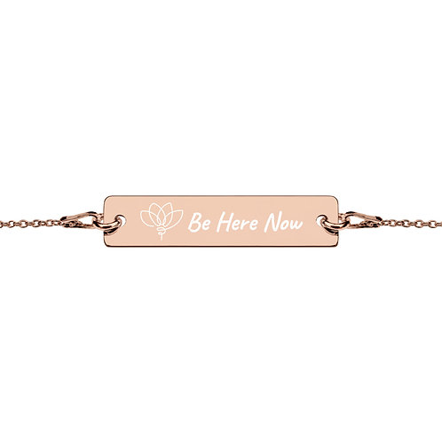 "Engraved ""Be Here Now"" Lotus Bracelet"