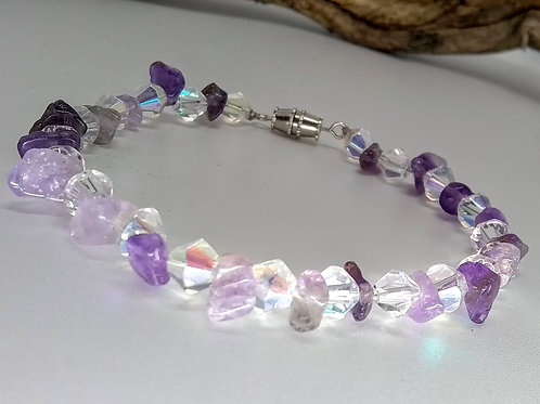 Amethyst and Crystal Bead Bracelet