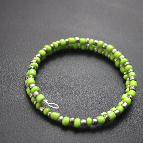 Silver and Lime Green Memory Wire Bracelet