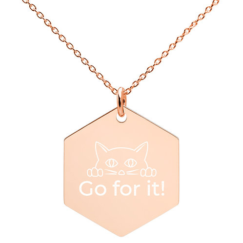 Engraved Hexagon Kitten Necklace