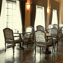 The dining room of a formal restaurant w
