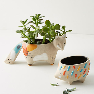 designed forest creature planters for Anthropologie