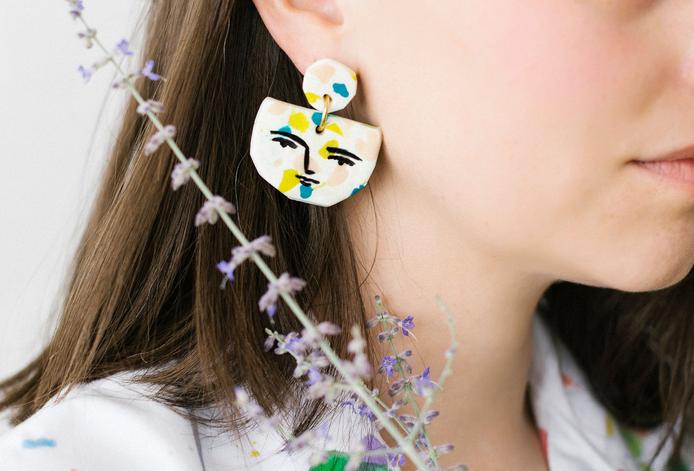 Face Terrazzo Earrings